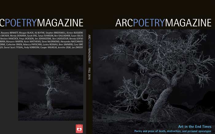 Pillars of Dawn on the cover of Arc Poetry Magazine